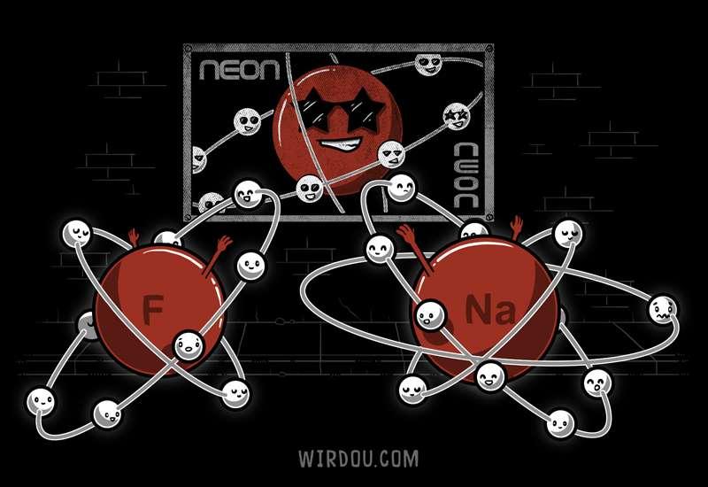 electrones, átomo, ciencia, divertido, gracioso, elementos químicos, gas noble, gases nobles, fluor, sodio, neón