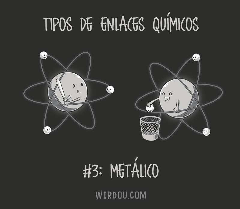 química, ciencia, divertido, gracioso, enlaces químicos, enlace metálico, átomo, electrón, protón, neutrón