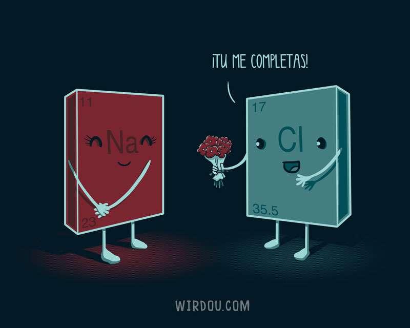 sodio, cloro, enlace iónico, sal, ciencia, gracioso, divertido, química, elementos químicos