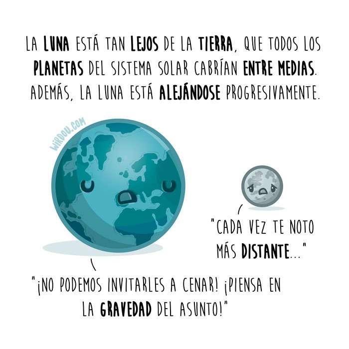 ciencia, divertida, curiosidad, ilustración, dibujo, tierra, luna, astronomía, espacio, universo, planetas, gravedad